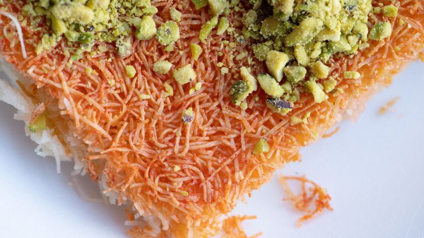 ANAHEIM, CA-May 28, 2019: Knafeh Nabulsi from Forn Al Hara restaurant in Anaheim on Tuesday, May 28,