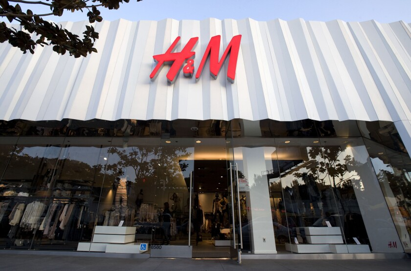 A general view of the H&M Sunset Strip storefront in West Hollywood. H&M will move a massive store into the FIGat7th shopping center in downtown Los Angeles.