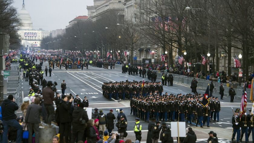 Military units participate in the presidential inaugural parade from the Capitol to the White House on Jan. 20, 2017.