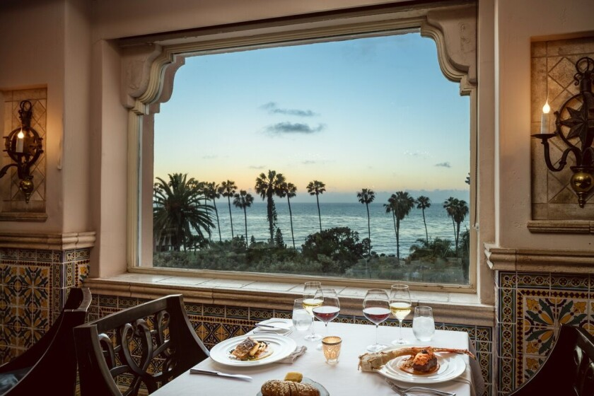 An ocean view from The Med, the fine dining restaurant at La Valencia Hotel in La Jolla.