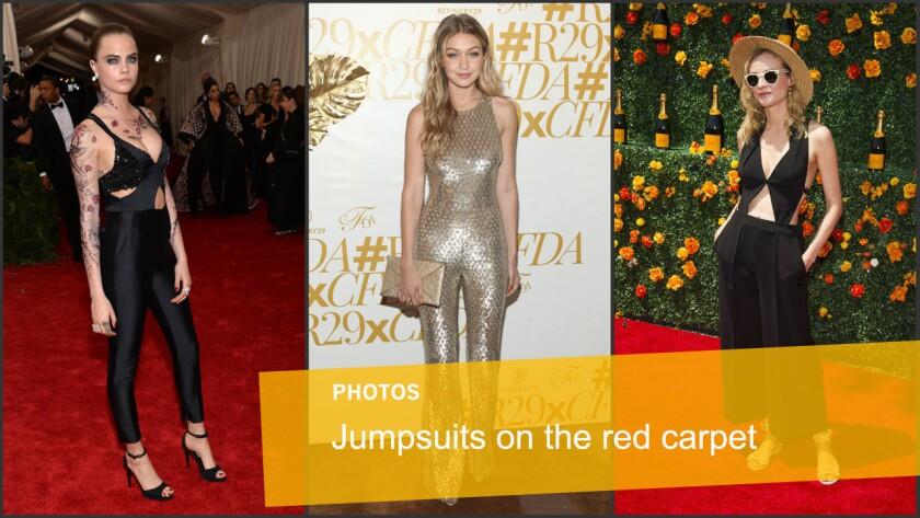 Model Cara Delevingne, model Gigi Hadid and actress Diane Kruger showcase jumpsuits on the red carpet.