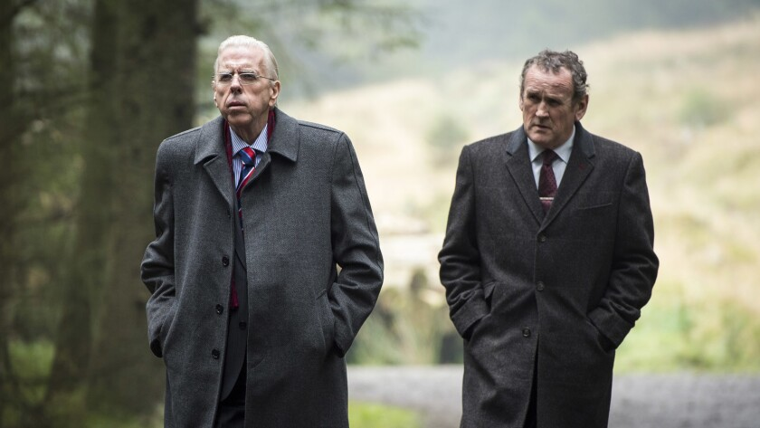 """Colm Meaney, left, and Timothy Spall in the film """"The Journey."""""""