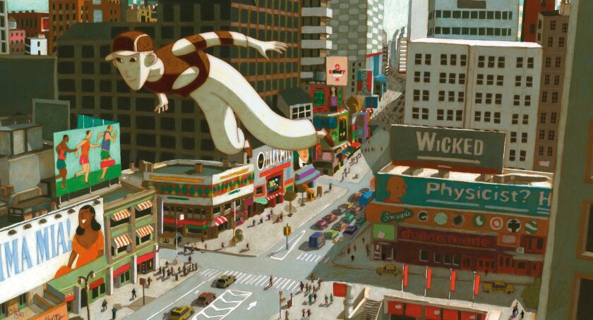 """An image from the movie """"Phantom Boy,"""" which stars  Edouard Baer, Jean-Pierre Marielle, and Audrey Tautou."""