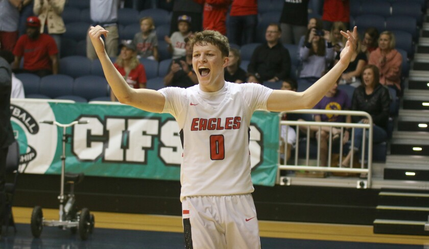 Junior Keatten Smith revels in the Eagles' victory.