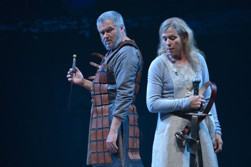 Conleth Hill and Frances McDormand star in Shakespeare's cursed classic.
