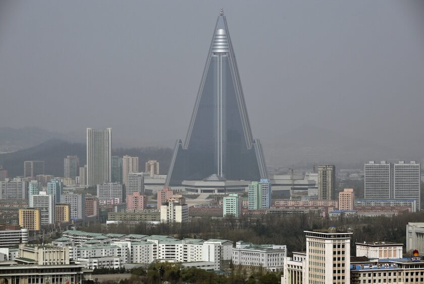 A view of Pyongyang, North Korea, featuring the massive, and unfinished, Ryugyong Hotel, on April 15, 2016.