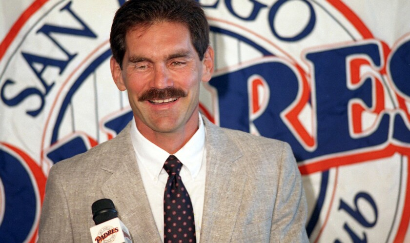 A Padres backup catcher in the mid-1980s and later the third base coach, Bruce Bochy was introduced on Oct. 21, 1994 as the team's 15th manager, replacing Jim Riggleman, who signed with the Cubs.