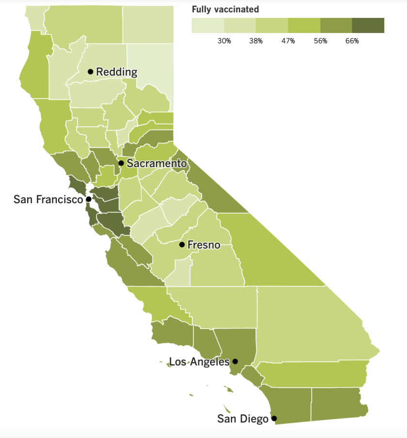 A map showing California's COVID-19 vaccine progress by county.