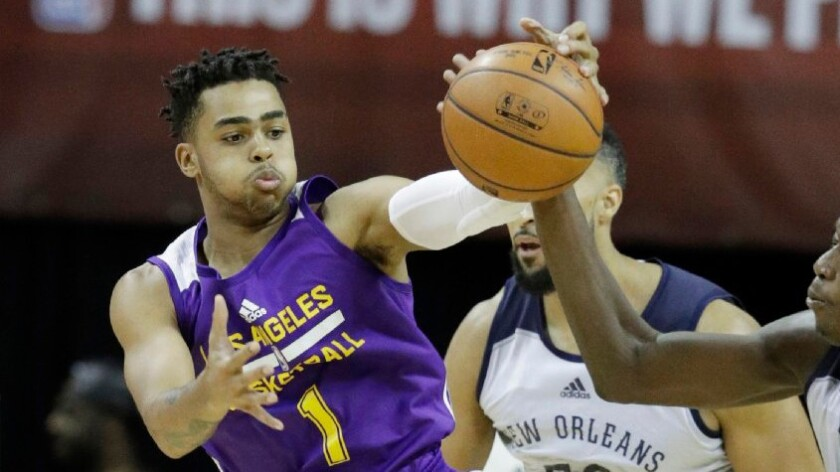 Lakers' D'Angelo Russell steals show from Brandon Ingram, 76ers' Ben Simmons