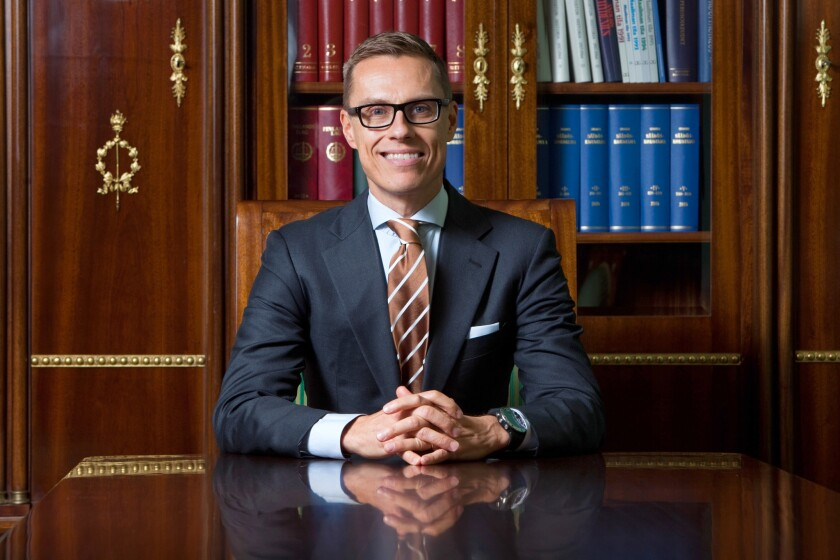 Finnish Prime Minister Alexander Stubb poses for a photograph at the government palace in Helsinki, Finland, on Monday.