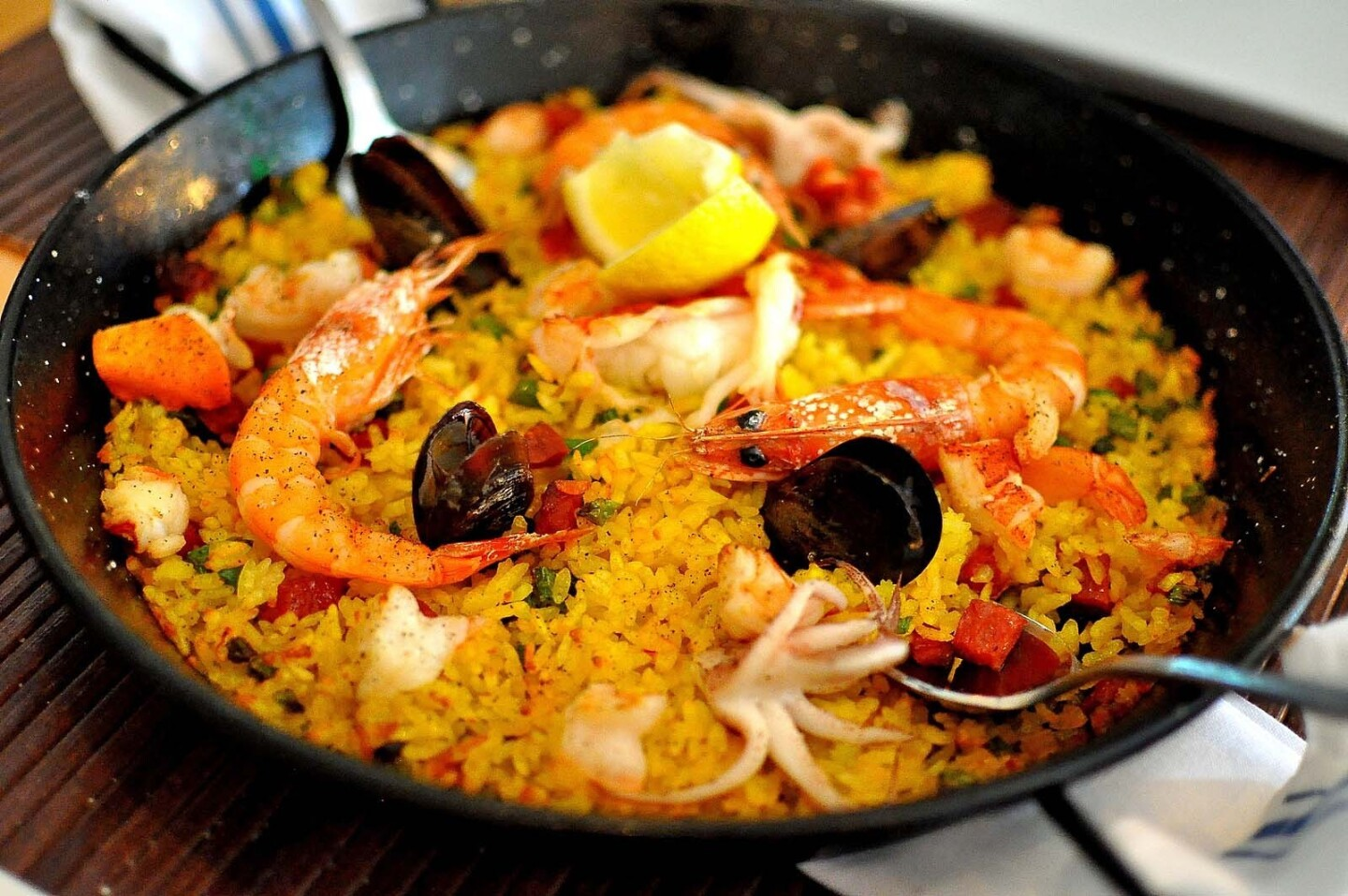 Paella, rich with seafood, is a good choice at AltaEats.