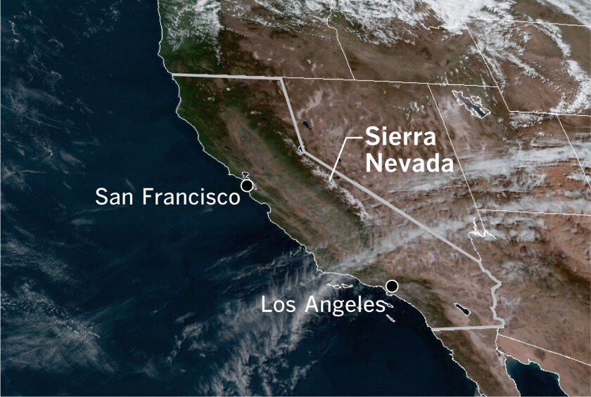 High pressure and clear skies dominated in a satellite photo of California
