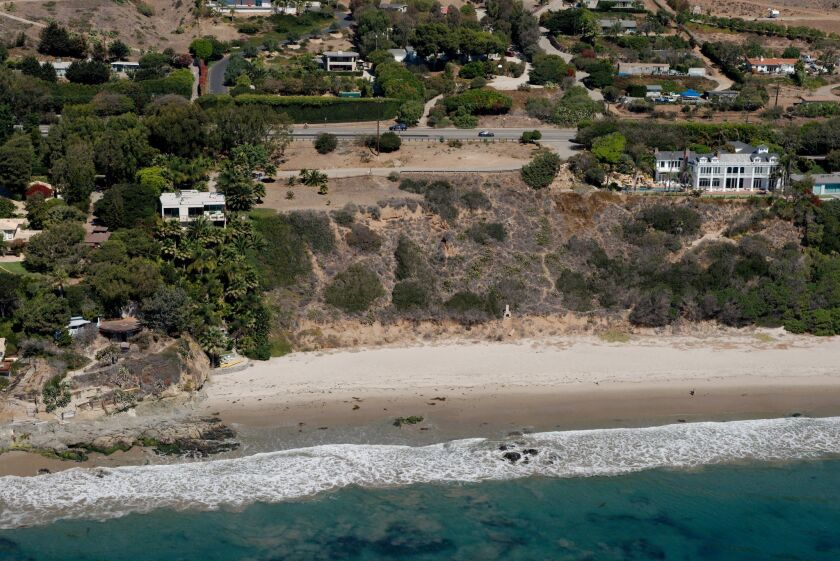 El Sol County Beach in Malibu is at the center of this Sept. 2013 image provided by californiacoastline.org. Los Angeles county bought the property in 1974 with the stated intention of opening it to the public, but it has remained closed.