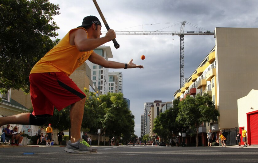 Annual stickball tournament in Little Italy, San Diego