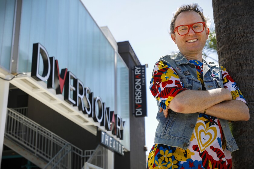 Diversionary Theatre executive artistic director Matt M. Morrow stands outside the theater's newly built facade on Sept. 12.