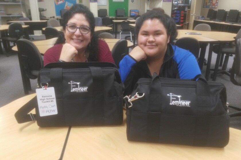 Ramona High School engineering and Femineer Program teacher Christine Hill, left, is proud of the accomplishments students such as Brianna Argueta have achieved.