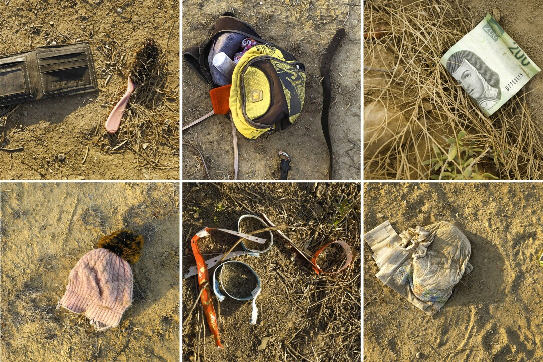Collage of six photos of items like wallets, brushes, bags, diapers, hats, wristbands and money lying in the dirt