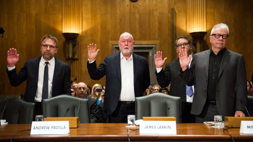 Former and current Backpage.com officials are sworn in on Capitol Hill in January. From left are Chief Executive Carl Ferrer, former owner James Larkin, Chief Operating Officer Andrew Padilla and former owner Michael Lacey.