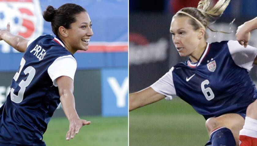Christen Press, left, and Whitney Engen have traveled remarkably similar journeys in their quest to represent the United States in the World Cup.
