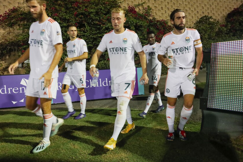 San Diego Loyal players walk out to the field after halftime during game against Phoenix Rising last month.