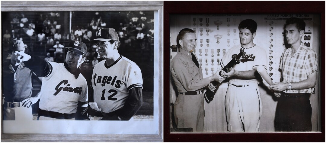 Left, Ernie Rodriguez, and his brother Reuben before a game.