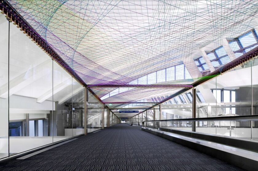 """A view of artist Pae White's installation """"ΣLAX,"""" recently unveiled at the international terminal at Los Angeles International Airport."""