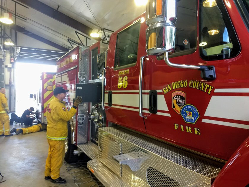 A new San Diego County Fire Authority brush engine is one of several vehicles now assigned to the former Julian volunteer station. County firefighters took up 24/7 residence at Station 56 on Wednesday.