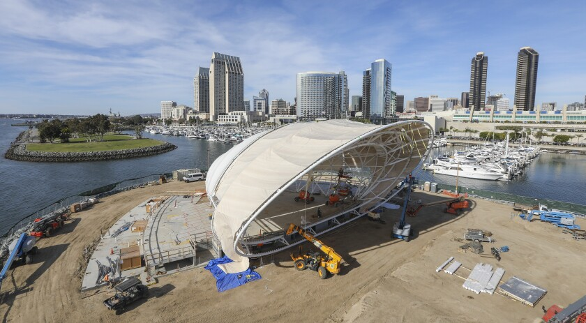Construction crews work on the San Diego Symphony's new year-round outdoor concert venue, The Shell, at Embarcadero Marina Park South, adjacent to the San Diego Convention Center.