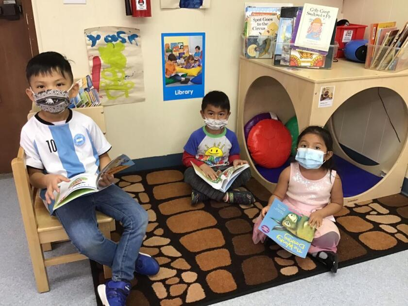 Even while following Covid restrictions at Solana Beach Head Start, students are enjoying their new books.