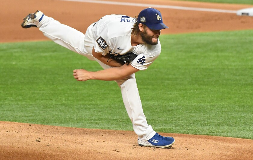 The Dodgers' Clayton Kershaw pitches against the Rays in Game 1 of the World Series on Oct. 20, 2020.