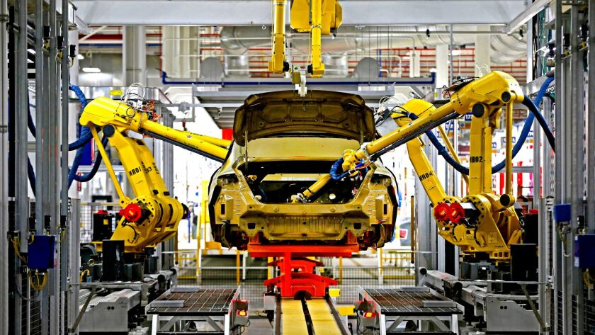 Automated robots building a Chrysler in Sterling Heights, Mich.