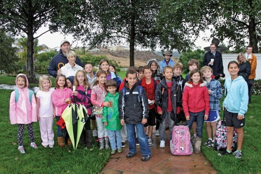 Students participate in Sage Canyon Walk to School Day