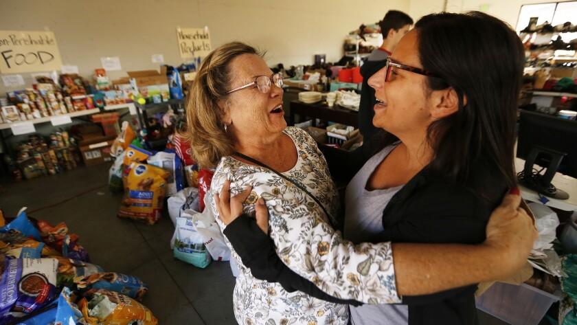 AGOURA HILLS, CA - NOVEMBER 20, 2018. Jenn Kurtz, right, an organizer of the Las Virgenes Fire Relie