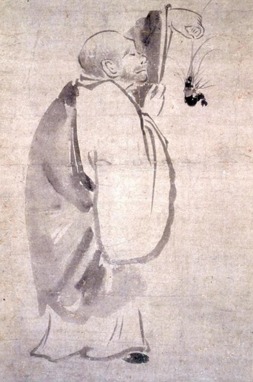 "Enlightenment comes in ""Kensu With Shrimp"" by Yogetsu (15th century)."