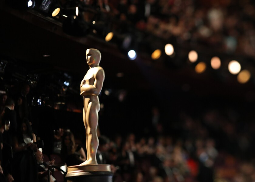 An Oscar statue at the telecast of the 89th Academy Awards on Sunday, Feb. 26, 2017, in the Dolby Theatre.