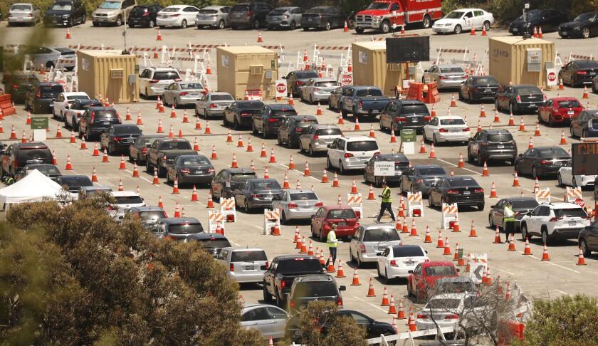 Motorists line up in multiple lanes at Dodger Stadium for coronavirus testing on July 8.