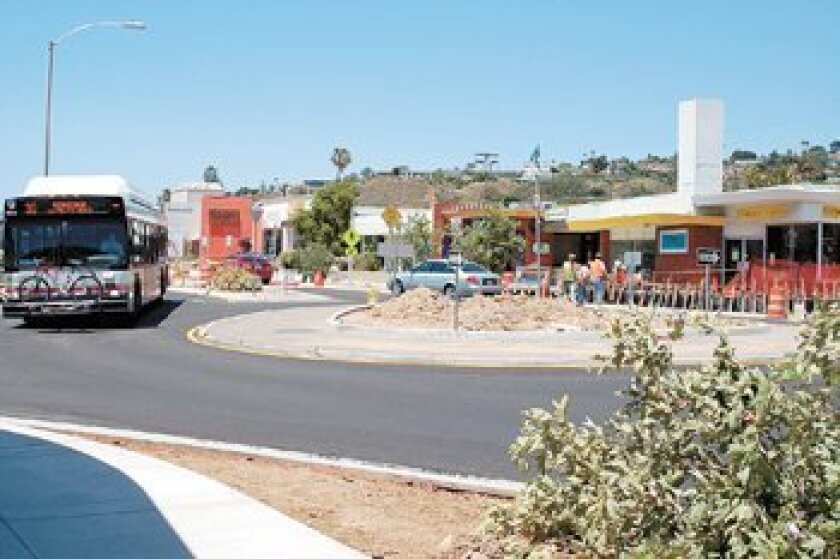 The Bird Rock Avenue roundabout was nearing completion in mid-2008. Photo: Dave Schwab