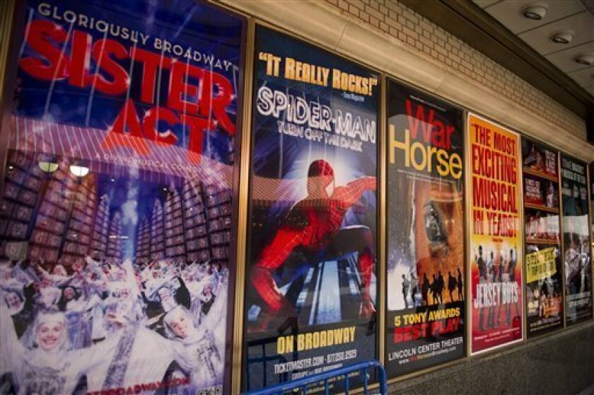"""FILE- This Jan. 19, 2012 file photo shows posters advertising Broadway shows, including the now closed """"Sister Act,"""" are displayed in Shubert Alley, in New York. The percentage of minority actors working on Broadway and at the top 16 not-for-profit theater companies in New York City rose to 23 perc"""