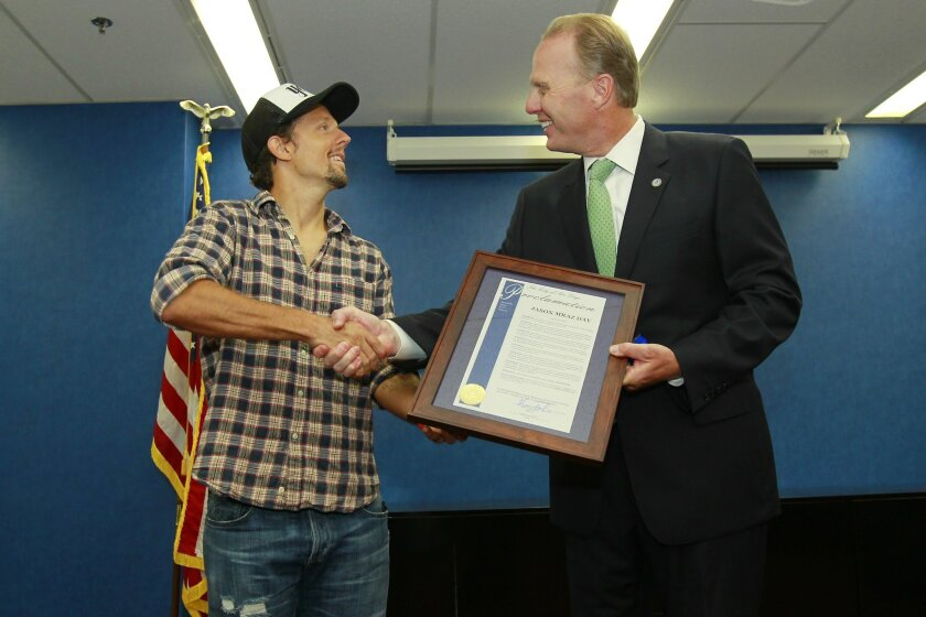"San Diego Mayor Kevin Faulconer declared August 19, 2014, as ""Jason Mraz Day."""