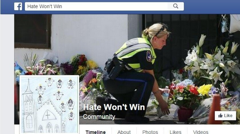The Hate Wont Win Facebook page as seen on June 26.