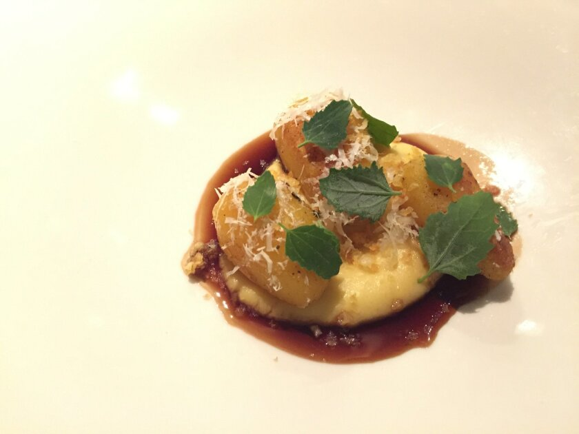 Potatoes Bordelaise, a course on the new chef's tasting menu at Juniper & Ivy.