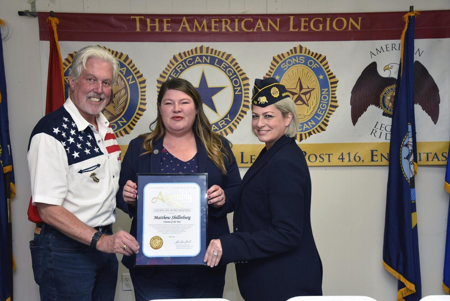 American Legion San Dieguito Post #416 Commander Matt Shillingburg (United States Army Retired) receives a declaration naming him as District #76 Veteran of the Year by Assembly member Tasha Boerner-Horvath, San Dieguito Post #416 1st Vice-Commander Kerry Cortinas