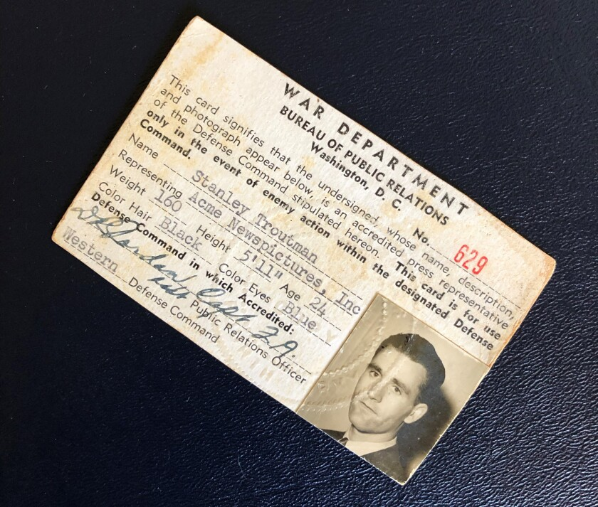 Stanley Troutman's wartime press credential.
