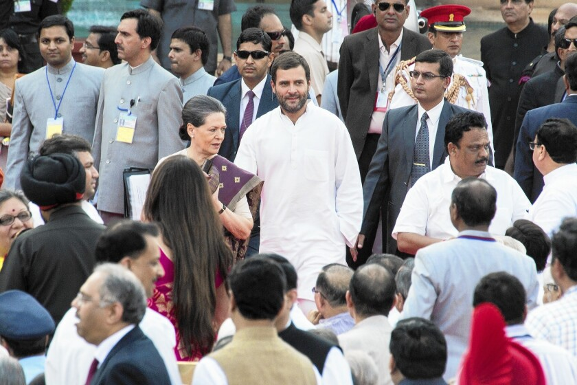 Sonia and Rahul Gandhi attend the swearing in ceremony for Narendra Modi, India's new prime minister, in New Delhi.