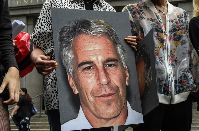 A protest against Jeffrey Epstein as he appeared in federal court on sex trafficking charges