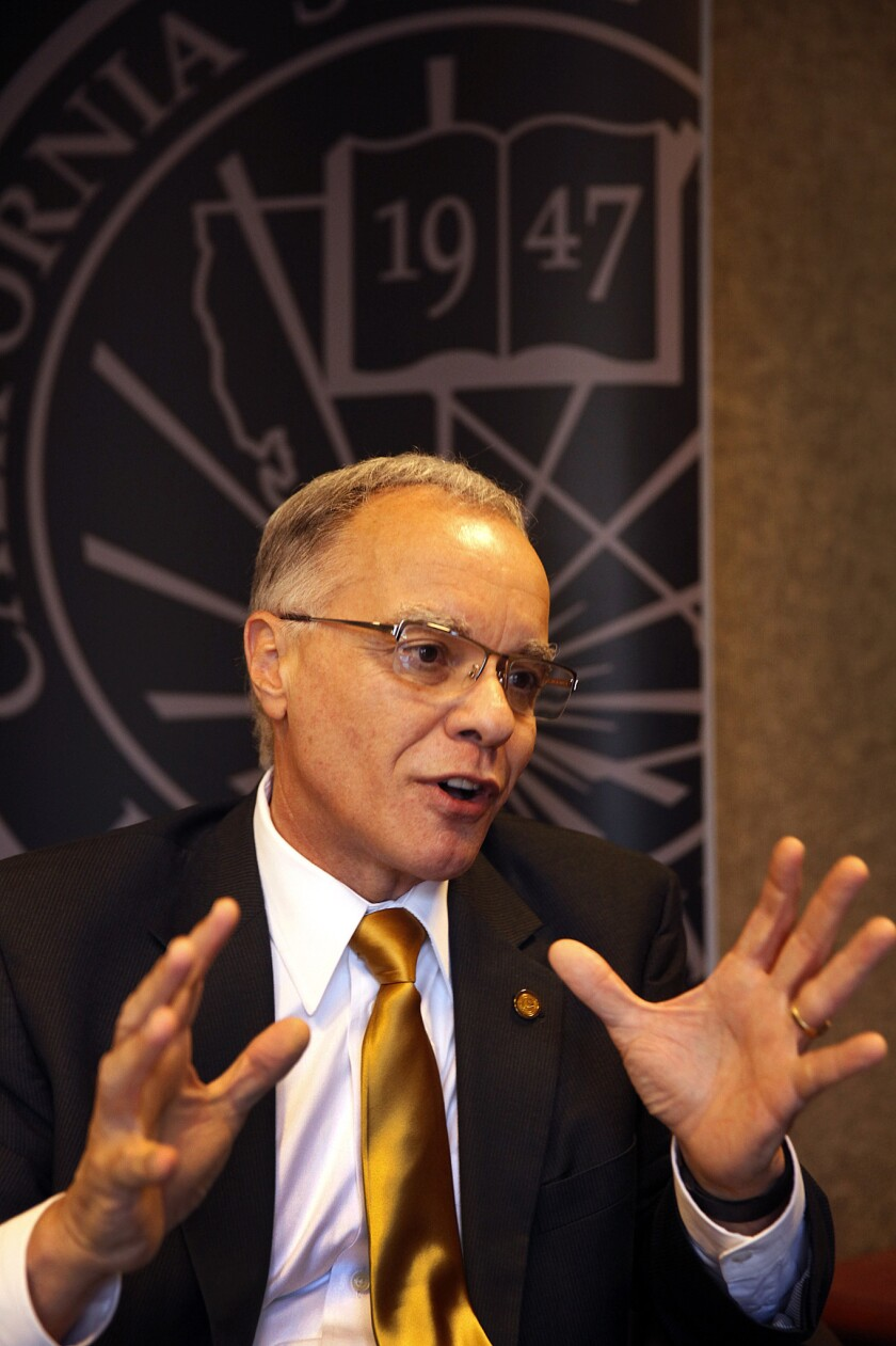 William Covino, president of Cal State L.A., which is among an increasing number of colleges developing ways to reduce the physical and psychological stress of attending college.