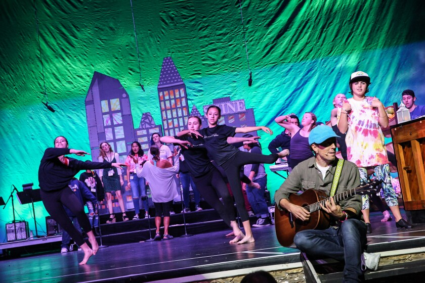Jason Mraz accompanies performers from Malashock Dance and more onstage at the Spreckels Theatre.