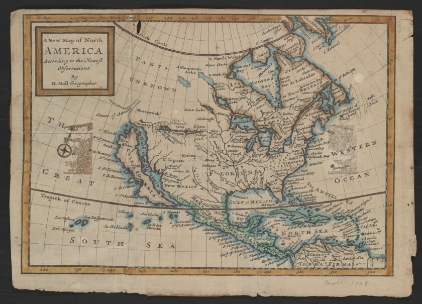 A 1741 map of the New World shows California as a big island.