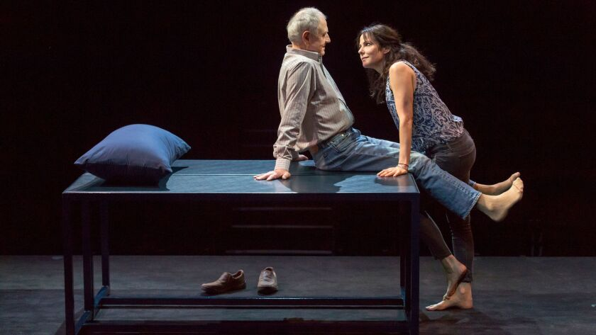 """Denis Arndt and Mary-Louise Parker during a rehearsal of the play """"Heisenberg"""" at the Mark Taper For"""