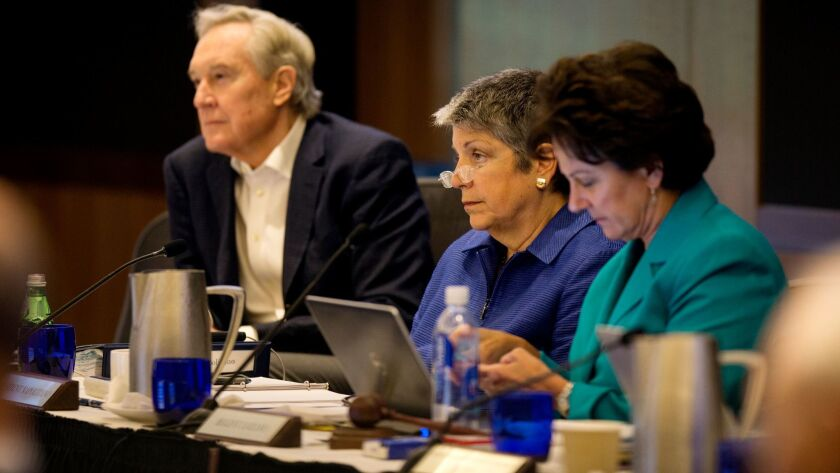 "L.A. attorney George Kieffer, left — with UC President Janet Napolitano, center, and outgoing board chairwoman Monica Lozano — is ""revved up"" about taking helm of the UC Regents."
